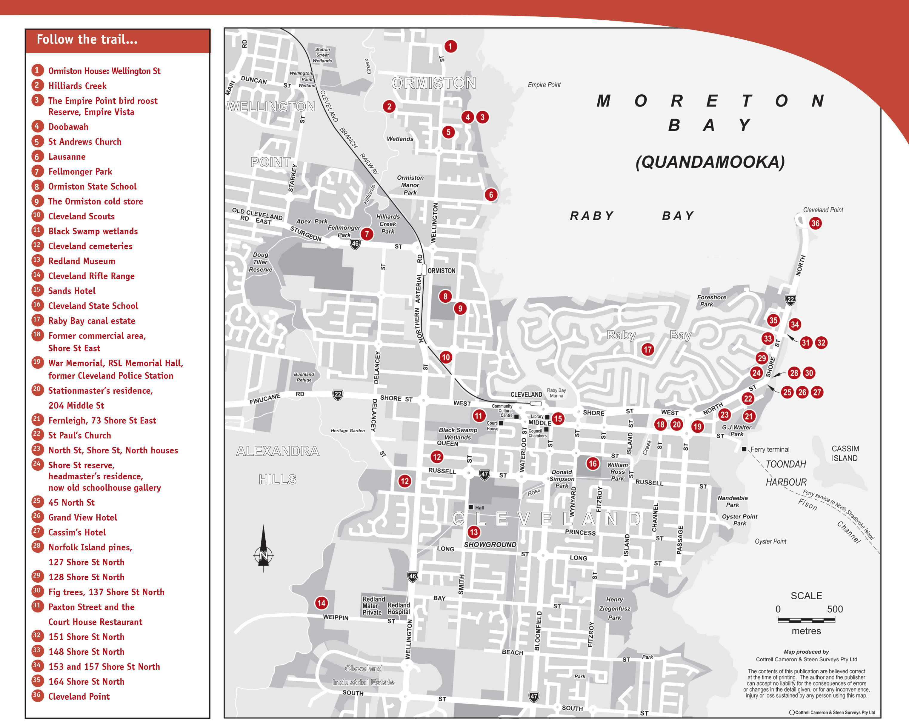 Heritage trails redland city council map of the cleveland and ormiston heritage trail pdf 882kb publicscrutiny Choice Image