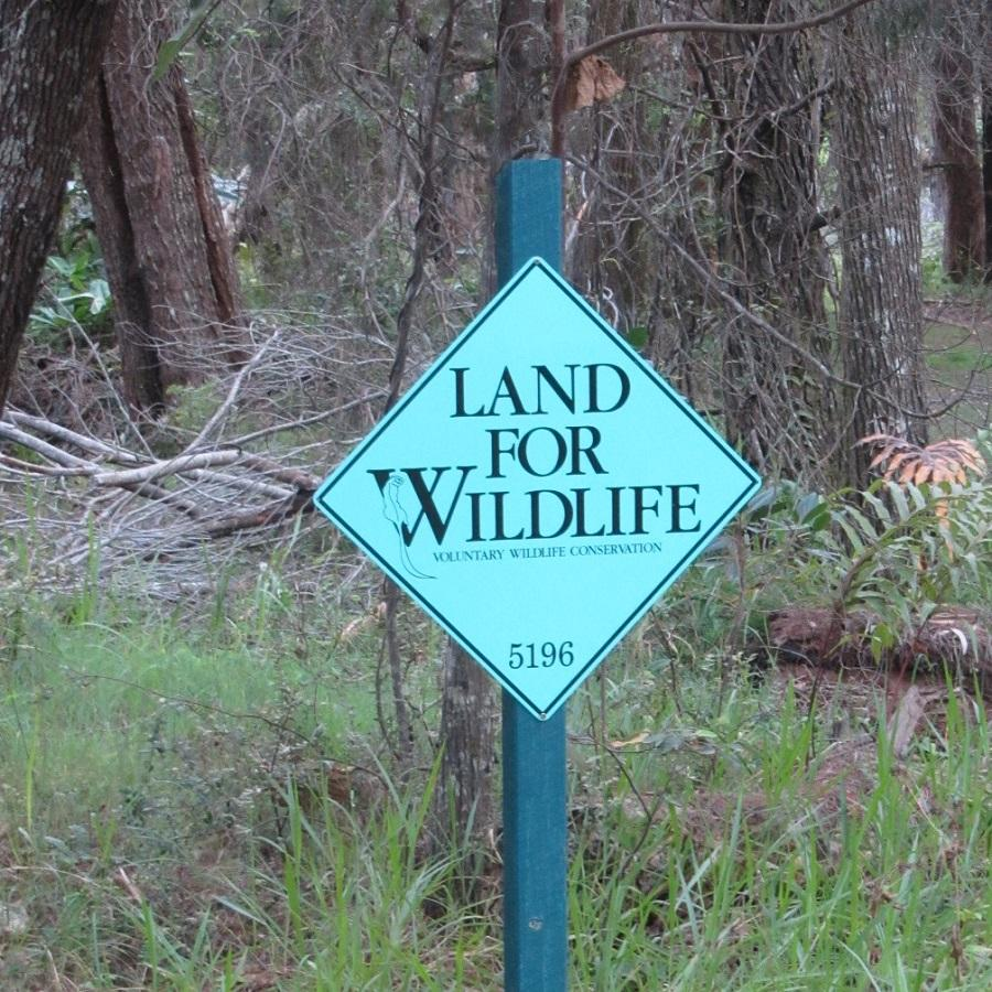 Environmental partnerships in the Redlands - Land for Wildlife sign